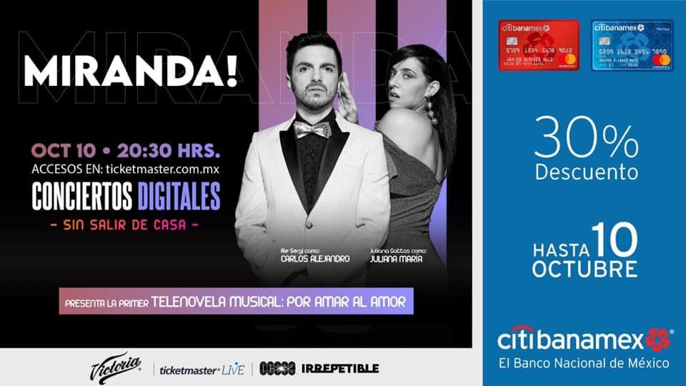 """""""Miranda!"""" ofrecerá concierto virtual """"Por amar al amor"""" el sábado 10 de octubre a las 20:30 horas"""