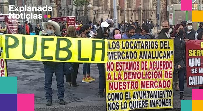 Ante represión y hostigamiento de Claudia Rivera, locatarios del mercado de Amalucan se manifiestan en CDMX