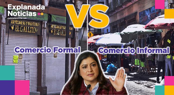 Comerciantes del centro histórico rechazan obras de Claudia Rivera y piden que mejor desaloje a ambulantes