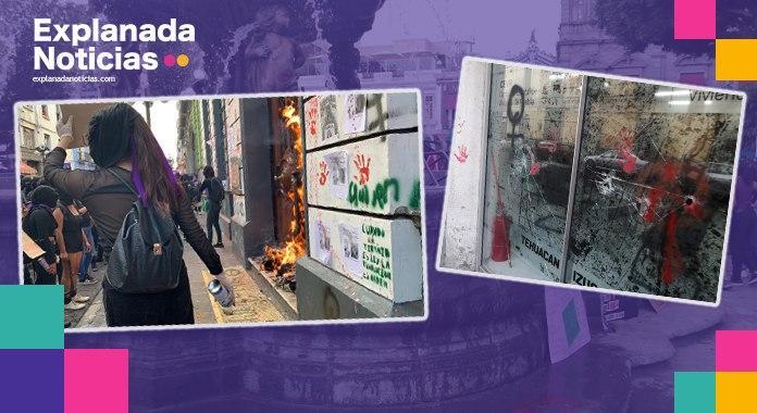 Reparará gobierno estatal daños en inmuebles por marcha del 8M; algunos causadas por trabajadoras el Ayuntamiento de Puebla