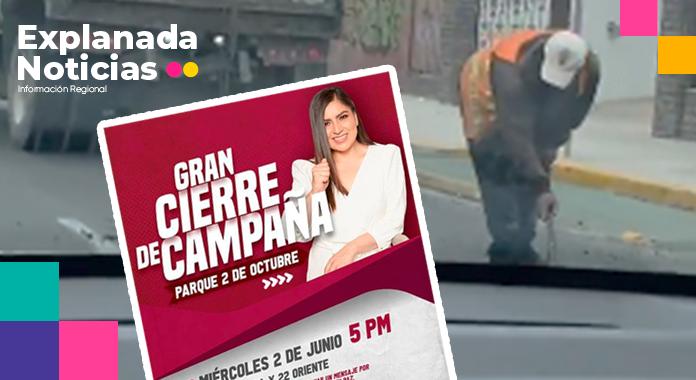 Claudia Rivera manda a tapar baches en xonaca para su cierre de campaña
