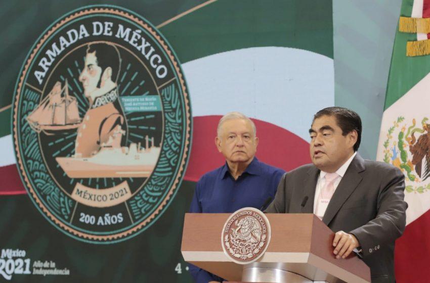 En la mañanera de AMLO gobernador de Puebla refrenda compromiso de trabajar por la paz